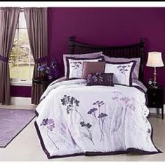 I think my house needs this! Not the dark walls, just the bedding! I would need to repaint our room, but it would be worth it! Lavender Bedding, Lavender Leaves, Dark Walls, Comforter Sets, Window Treatments, Comforters, Master Bedroom, Furniture, Bedrooms