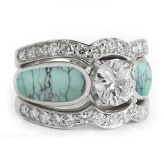 """Stormy Sky"" One Carat Turquoise Diamond Engagement Ring - Engagement Rings - Kokopelli of NH Inc."