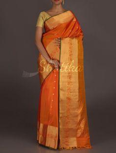 Kalyani Vibrant Orange Broad Bel Border #Gadwal #RealZari #SilkSaree
