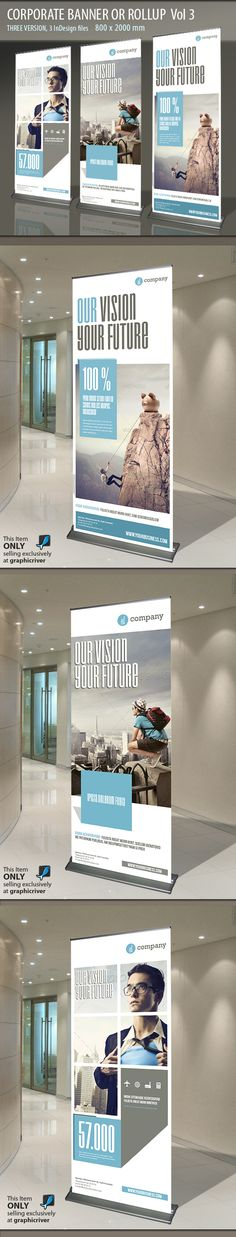 Branding is essential for corporate, regardless of scale. Roller banners, tension banners, foamex columns etc are just a few simple ways to ensure your brand stands out in style. (via Behance)