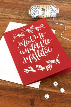 Red Christmas Card | Fingertips Calligraphy, handwritten, no print