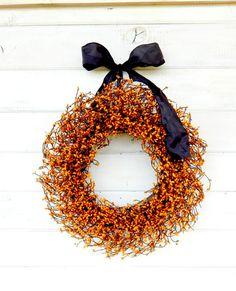 PUMPKIN ORANGE & BLACK Door Wreath-Fall Wreath-Autumn Home Decor -Halloween Door Wreath-Scented Pumpkin Spice-Choose your Scent and Ribbon