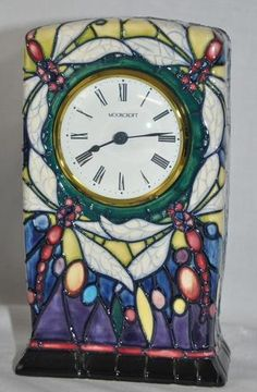 Moorcroft Pottery RARE Retired Favrile Clock 2000 First Quality Signed OVR Glaze | eBay