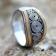 Sterling Silver and Gold Accent Ring - Celuk Legend | NOVICA