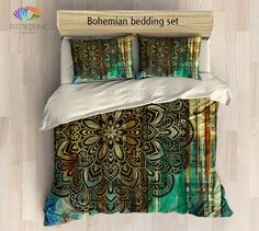 Mandala bedding, Bohemian mandala duvet cover set, Boho bedding, Bohemian rustic bedroom decor