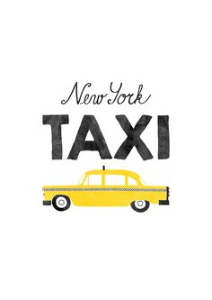Mid Century Modern New York City Yellow Taxi Car by TomasDesign New York Illustration, Train Illustration, New York Taxi, New York City, Nursery Prints, Nursery Art, Taxi Drawing, Car Prints, Train Art