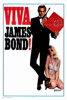 This poster for James Bond and in the movie sexualizes women with outfits like that model is wearing, and the men are the ones carrying guns, and strong.