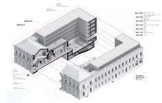 Mención Concurso Puesta en Valor y Renovación del Monumento Nacional Palacio Pereira / Tidy Arquitectos + NKZ,isométrica - sección