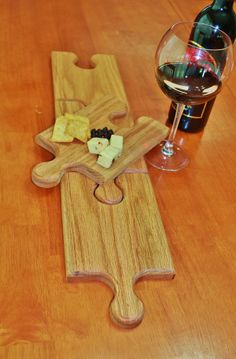 Wine Glass Holding Plates / Cutting Boards / Extra Long Serving tray/ Red Oak / Puzzle pieces (set of 4) by AczarsDesign, $75.00