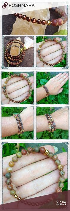 🌏️Bronze & Rainbow Jasper Gemstone Bracelet 🌏Faceted Metallic Bronze & Rainbow Jasper Gemstone Gold-plated Wire Bracelet                   🔸handmade by melaniekaren for Beauty is the Earth                                                                   🔸all natural jasper stones with metallic glass crystals highlighted with brass and gold-plated wire                                                                           🔸made in USA with love by the river🤗             🔸silver…