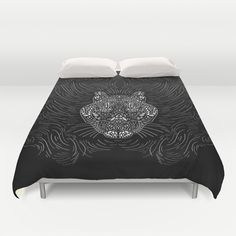 Black And White Tiger Duvet Cover by Ornaart - $99.00