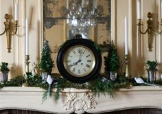 Garden, Home and Party: mantle clocks Mantle Clock, Fireplace Mantle, Christmas Holidays, Christmas Decorations, Merry And Bright, House Party, Indoor, Entertaining, Clocks