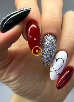 nail art designs with glitter * nail art designs . nail art designs for winter . nail art designs for spring . nail art designs with glitter . nail art designs with rhinestones Red Nail Designs, Acrylic Nail Designs, Acrylic Nails, Coffin Nails, New Year's Nails, Red Nails, Shiny Nails, Punk Nails, Romantic Nails