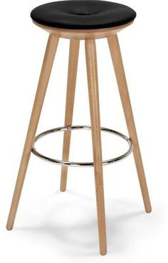 Kitson Barstool, Natural Wood and Black from made.com