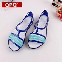 QPQ Women Sandals 2017 Summer New EVA Candy Color Peep Toe Stappy Beach  Valentine Rainbow Croc 3baf9b840049