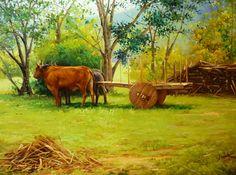 carro de bois | DOUGLAS OKADA - Carro de boi - Óleo sobre tela - 60 x 80