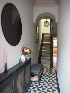 Hallway Makeover Before & After - How We Did It. — Gold is a Neutral Hallway Makeover Before & After - How We Did It. — Gold is a Neutral Decor, House, Home, Hallway Flooring, Living Room Windows, Hallway Wall Decor, Makeover Before And After, Tiled Hallway, Narrow Hallway Decorating