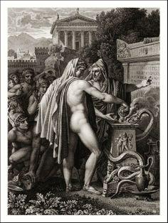Aeneas Sacrificing to Neptune. 1827. from illustrations of Virgil's Aeneid. Anne Louis Girodet de Roussy Trioson. French 1767-1824. engraving.