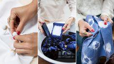 Artesanías paso a paso: cómo teñir tejidos con la técnica Shibori para decorar el hogar Shibori, Ideas, Home, Fabric Handbags, Tablecloths, Napkins, Spaces, Tejidos, Manualidades