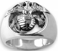 Special Order - GoldDistinguished by the Eagle, Globe and fouled Anchor, this Marine Corps ring by Mike Carroll is heavy in weight, extreme in detail, and of the highest quality. Each US Marine Corps ring is made one-at-a-time to your exact size and o Mens Silver Rings, Silver Man, Sterling Silver Rings, Usmc Ring, Wedding Rings For Women, Rings For Men, Marine Corps Rings, Eagle Ring, Diamond Wedding Rings