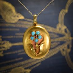 """Victorian Turquoise & Ruby """"Forget Me Not"""" Locket"""