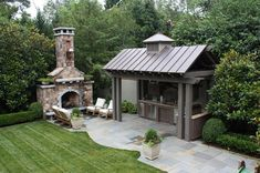 Outdoor kitchen and Fireplace - traditional - landscape - other metro - The Collins Group/JDP Design