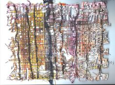 More stitched newspaper | Flickr - Fotosharing! by scrappy annie - she even tells how she made it: I have found that if you stitch newspaper using a grid system and then wet it and rub it, the paper disinterates back to the sitiching line. You can help it along by cutting out part of the paper. This is a wonderful base for paint and further stitching