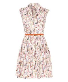 Love this White Spring Tree Belted Shirt Dress on #zulily! #zulilyfinds