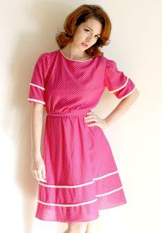 Pink Polka Dot Vintage Dress  1960s Size 6  Tea by BeautyIsPain, $49.00