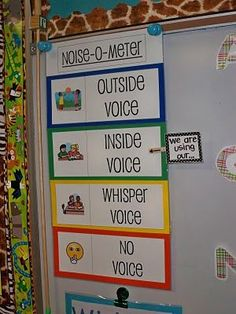 Great way for children to know the volume allowed in the classroom at that time! They can monitor the noise themselves!  #6544