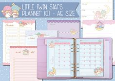 Little Twin Stars printable planner kit - A5 size