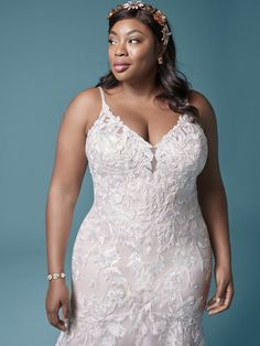 A stylish floral lace plus size mermaid wedding gown for the sophisticated bride designed by Maggie Sottero. Find your one-of-a-kind bridal gown today! Fitted Lace Wedding Dress, Sheath Wedding Gown, Wedding Dresses With Straps, Country Wedding Dresses, Boho Wedding Dress, Dream Wedding Dresses, Bridal Dresses, Mermaid Wedding, Maggie Sottero Wedding Dresses