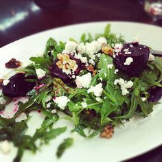 Beetroot, goat's cheese and walnut salad. Or use blue cheese. Dressing is simply olive oil and salt.