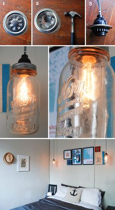 DIY Mason Jar Lights  Looks old and kinda vintage  I love it!