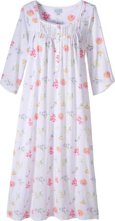 Lanz of Salzburg floral print cotton nightgown in soft knit with pintucks and lace and ribbon trim. Three quarter sleeve nightgown in flowing body style with button front placket. Plus Size Sleepwear, Sleepwear Women, Kurta Designs, Blouse Designs, Night Gown Dress, Pijamas Women, Cotton Nighties, Nightgown Pattern, Night Suit