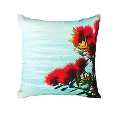 Pohutukawa Coast Indoor & Outdoor Cushion Kiwiana, Outdoor Living Areas, Outdoor Cushions, Indoor Outdoor, Tapestry, Throw Pillows, Coast, Home Decor, Hanging Tapestry