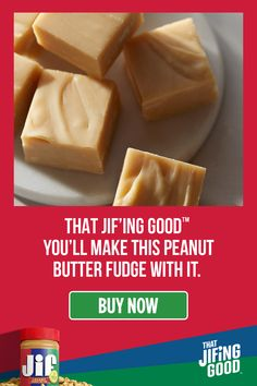 This creamy Peanut Butter Fudge is That Jif'ing Good you'll click this link to start filling up your cart. Köstliche Desserts, Holiday Desserts, Holiday Baking, Holiday Recipes, Delicious Desserts, Dessert Recipes, Yummy Food, Holiday Gifts, Fudge Recipes