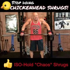 """Joe DeFranco on Instagram: """"🚫STOP DOING """"CHICKENHEAD SHRUGS""""! . 🐤One of my biggest 'pet peeve exercises' is the """"chickenhead shrug""""! I know you've all seen this…"""""""