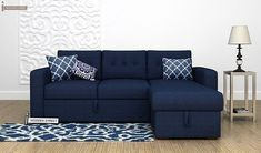 Buy Alfonso Right Aligned Convertible Sofa Cum Bed (Fabric, Blue) Online in India - Wooden Street Sofa Come Bed, Buy Sofa, Bedding Sets Online, Luxury Bedding Sets, Modern Bedding, Sofa Furniture, Pallet Furniture, Furniture Removal, Furniture Online