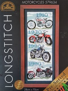 Large boxed kit with wool of vintage motorcycles by DMC - can be complete as long stitch or tapestry - rare vintage by KindredClassics on Etsy Vintage Motorcycles, Tapestry Wall Hanging, Needlepoint, Presents, Kit, Wool, Stitch, Canning, Punto Croce