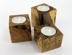 maple wood candlestick | Candle holders - Locally salvaged Maple tea light holders (set of 3 ...
