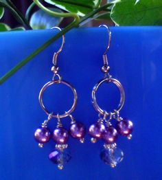Dangle Purple Pearl Earrings by ElementalKarma on Etsy, $12.00