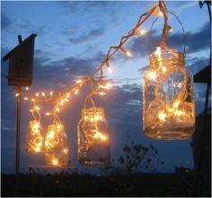 Turn mason jars into outdoor lighting.