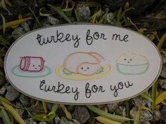 """Cranberry, turkey, and mashed potatoes from """"The Harvesters"""" pattern set by Mollie Johanson aka Wild Olive . I added the wording (lyrics from Adam Sandler's """"Thanksgiving Song""""). Lightly tinted with colored pencils. Adam Sandler Thanksgiving, Thanksgiving Songs, Wild Olive, Autumnal, Song Lyrics, Colored Pencils, Embroidery Patterns, Entrees, Poppy"""