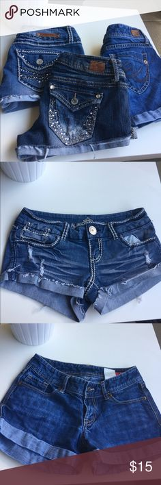 Shorts Bundle Each shorts are different sizes but fit about the same. Two are from Almost famous size 3 & 1. One is from express size 0. Almost Famous Shorts Jean Shorts