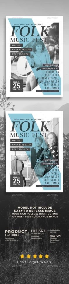 Folk #Music Festival - #Events Flyers Download here:  https://graphicriver.net/item/folk-music-festival/20465609?ref=alena994