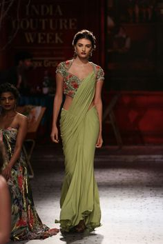 Floral Blouse with a Plain Green Saree - Simply Gorgeous