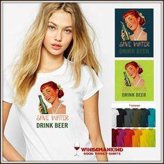 Funny beer tshirts-TSU26. Beer tee shirt. Retro by Wine4Mankind
