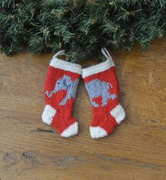 brand new design!!!  Hand-knit Elephant Christmas Stocking Ornament - in Alabama colors!
