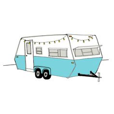 Vintage Camper Art Print RV Trailer Illustration